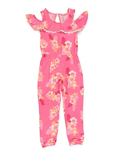 Girls 7-16 Floral Print Cold Shoulder Jumpsuit,FUCHSIA,large