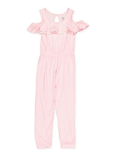 Girls 7-16 Soft Knit Cold Shoulder Jumpsuit | 1619061950038,WHITE,large