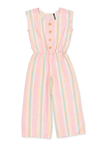 Girls 7-16 Striped Button Detail Jumpsuit,PINK,large