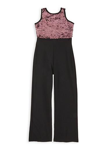 Girls 7-16 Reversible Sequin Jumpsuit,BLACK,large