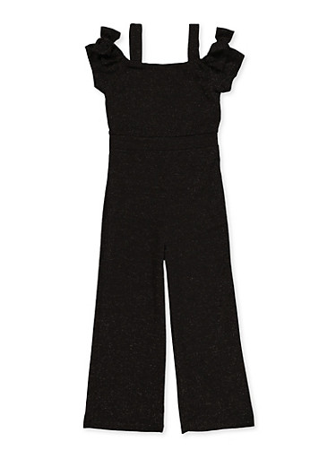 Girls 7-16 Glitter Jumpsuit,BLACK,large