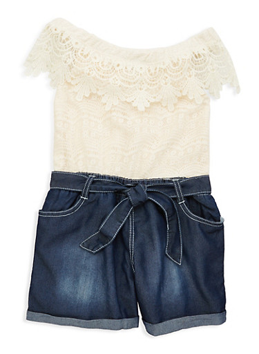Girls 7-16 Limited Too Lace Denim Romper,IVORY,large