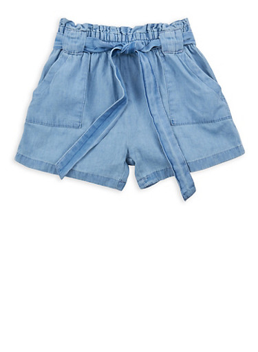 Girls 4-6x Denim Belted Paper Bag Waist Shorts,LIGHT WASH,large