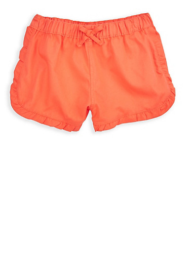 Girls 4-6x Coral Twill Shorts,CORAL,large