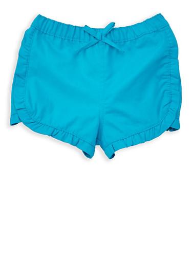 Girls 4-6x Ruffled Twill Shorts,TURQUOISE,large