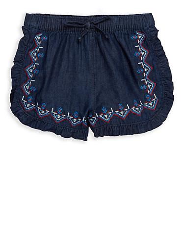 Girls 4-6x Embroidered Ruffled Shorts,CHAMBRAY,large