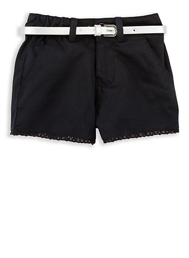 Girls 4-16 Belted Twill Shorts with Crochet Trim,BLACK,large