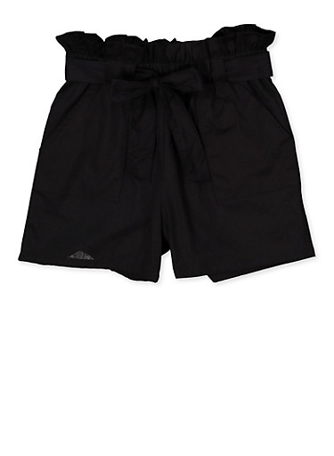 Girls 4-6x Paper Bag Waist Shorts | 1620038340088,BLACK,large