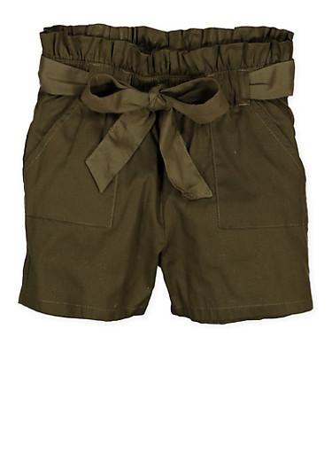 Girls 4-6x Paper Bag Waist Shorts | 1620038340090,OLIVE,large