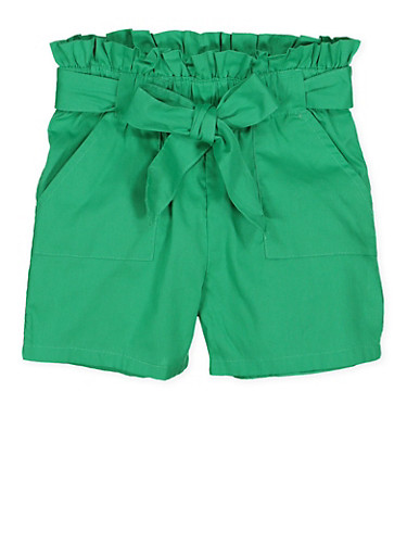 Girls 4-6x Paper Bag Waist Shorts | 1620038340091,GREEN,large
