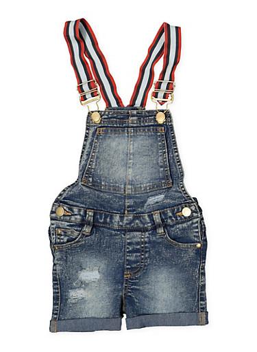 Girls 4-6x Fixed Cuff Denim Shortalls,DENIM,large