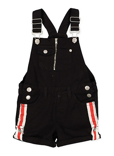 Girls 4-6x Denim Striped Tape Detail Shortalls,BLACK,large