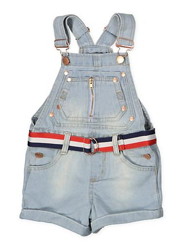 Girls 4-6x Striped Belt Denim Shortalls,LIGHT WASH,large