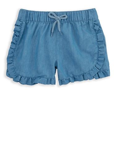 Girls 4-6x Ruffled Chambray Shorts,MEDIUM WASH,large