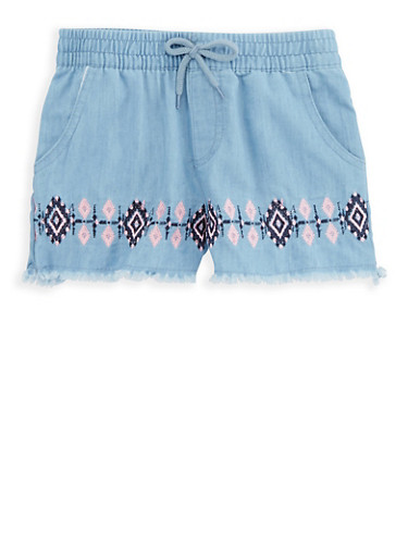 Girls 4-6x Embroidered Chambray Shorts,MEDIUM WASH,large