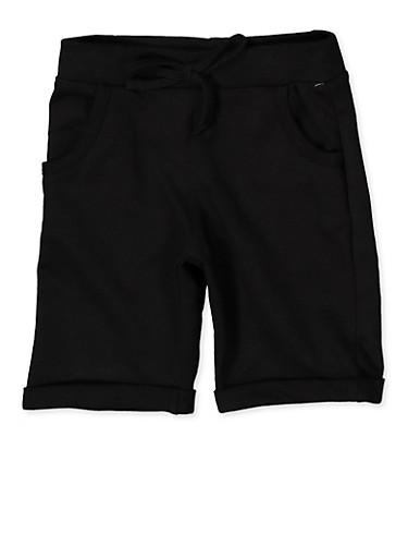 Girls 4-6x Fixed Cuff Bermuda Shorts,BLACK,large