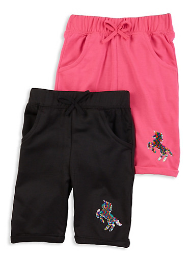 Little Girls 2 Pack Reversible Sequin Unicorn Shorts,BLACK,large
