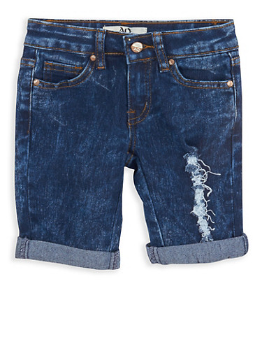 Girls 4-6x Cuffed Bermuda Shorts,DARK WASH,large