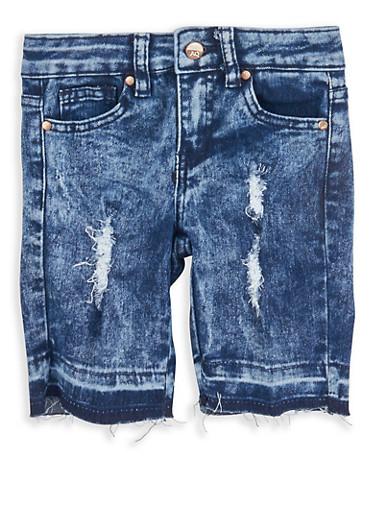 Girls 4-6x Distressed Acid Wash Bermuda Shorts,LIGHT WASH,large