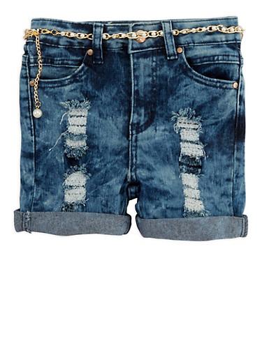 Girls 4-6x Belted Destroyed Denim Shorts,LIGHT WASH,large