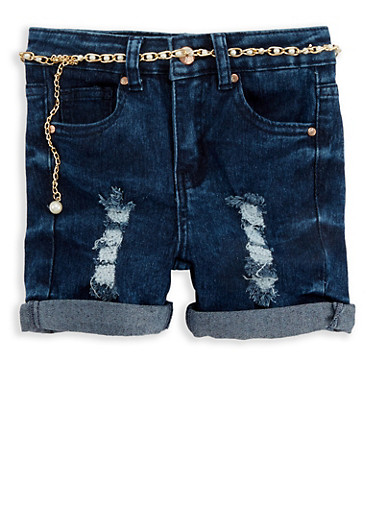 Girls 4-6x Frayed Belted Denim Shorts,DARK WASH,large