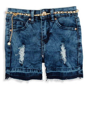 Girls 4-6x Acid Wash Cut Off Denim Shorts,MEDIUM WASH,large