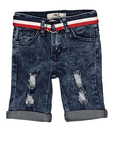 Girls 4-6x Striped Belt Denim Bermuda Shorts | 1620056720023,DENIM,large