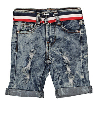 Girls 4-6x Striped Belt Denim Bermuda Shorts | 1620056720025,DENIM,large