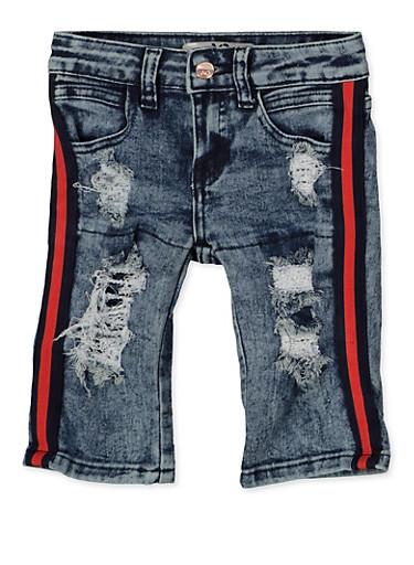 Girls 4-6x Distressed Striped Tape Skinny Jeans,DENIM,large