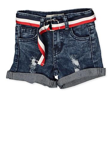 Girls 4-6x Striped Belt Frayed Denim Shorts,DENIM,large