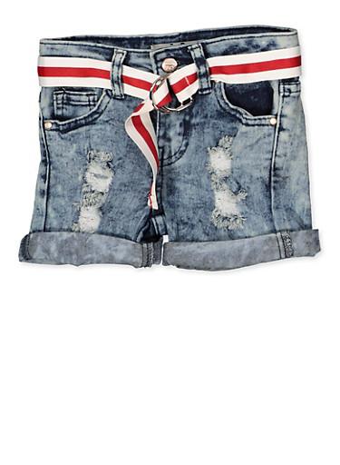 Girls 4-6x Distressed Cuffed Denim Shorts,DENIM,large