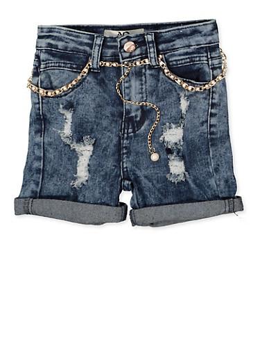 Girls 4-6x Faux Pearl Belted Denim Shorts,DENIM,large