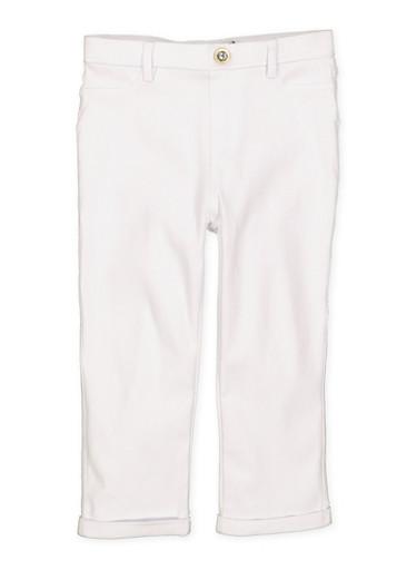 Girls 4-6x Hyperstretch Capri Jeggings,WHITE,large