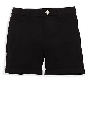 Girls 4-6x Cuffed Hyperstretch Shorts,BLACK,large