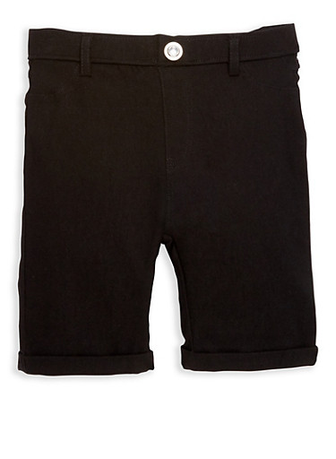 Girls 4-6x Studded Hyperstretch Bermuda Shorts,BLACK,large
