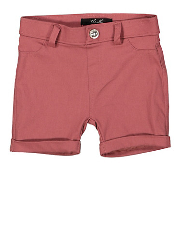 Girls 4-6x Hyperstretch Cuffed Shorts,MAUVE,large
