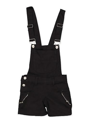 Girls 4-6x Zip Detail Hyperstretch Shortalls | Black,BLACK,large