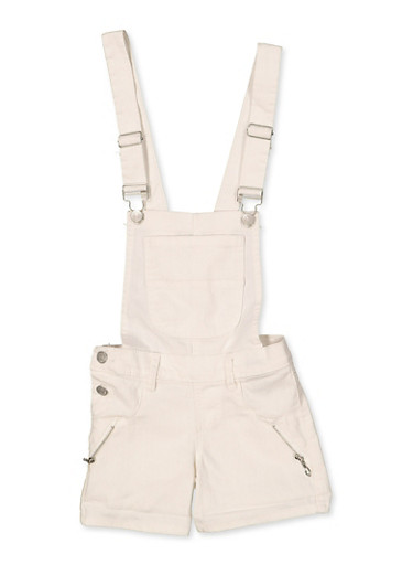 Girls 4-6x Zip Detail Hyperstretch Shortalls | White,WHITE,large