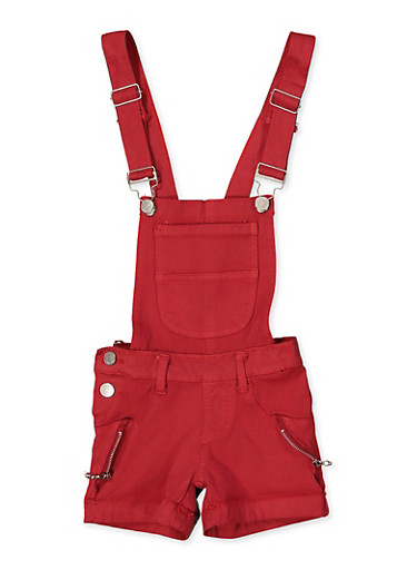 Girls 4-6x Zip Detail Hyperstretch Shortalls | Red,RED,large