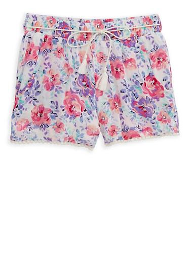 Girls 7-16 Floral Gauze Knit Shorts,PINK,large