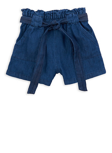 Girls 7-16 Denim Paper Bag Waist Shorts,DARK WASH,large