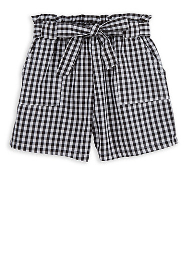 Girls 4T-16 Gingham Paper Bag Waist Shorts,BLACK/WHITE,large
