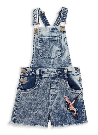 Girls 7-16 Embroidered Denim Shortalls,DENIM,large