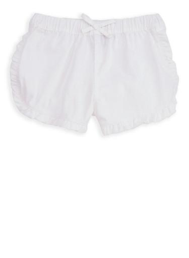 Girls 7-16 White Twill Shorts,WHITE,large