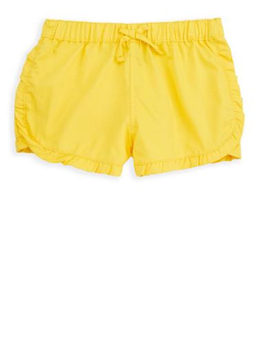 Girls 7-16 Yellow Twill Shorts,YELLOW,large