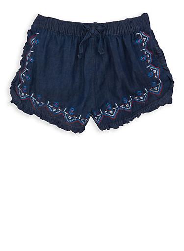 Girls 7-16 Embroidered Denim Shorts,CHAMBRAY,large