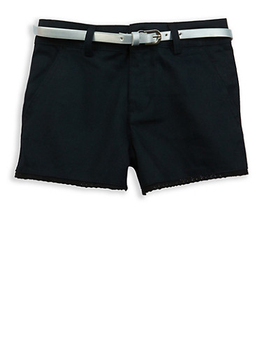 Girls 7-16 Crochet Trim Twill Shorts,BLACK,large
