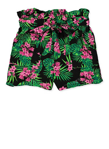Girls 7-16 Floral Paper Bag Shorts,BLACK,large