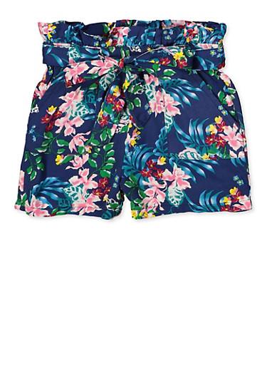 Girls 7-16 Leaf Print Shorts,NAVY,large