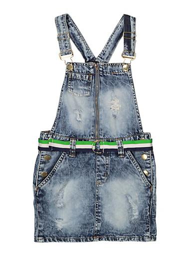 Girls 7-16 Striped Belt Denim Overall Dress,DENIM,large